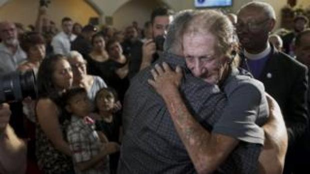 Antonio basco greets an well-wishers
