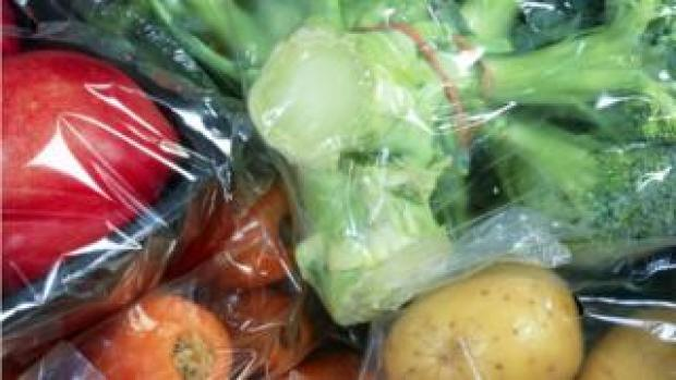Plastic wrapped produce