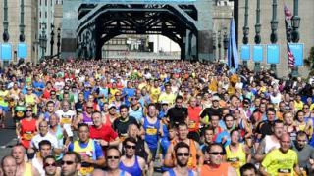 Runners crossing the Tyne Bridge in the 2014 Great North Run