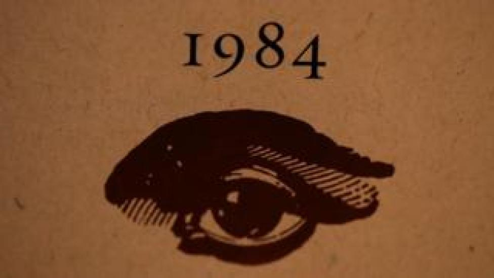 A copy of George Orwell's novel 1984 sits on a shelf at The Last Bookstore on January 25, 2017