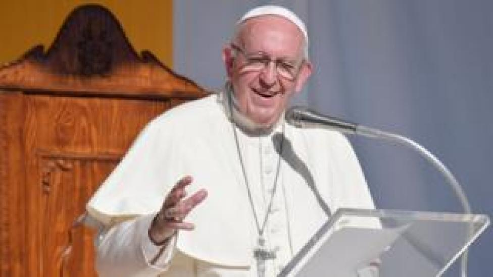 NEWS Pope Francis delivers at the Piazza Europa in Piazza Armerina, central Sicily, on 15 September 2018.