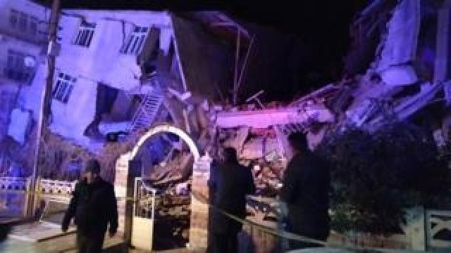 A collapsed building in Elazig