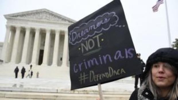 Immigration rights activists take part in a rally in front of the US Supreme Court in Washington, DC on 12 November