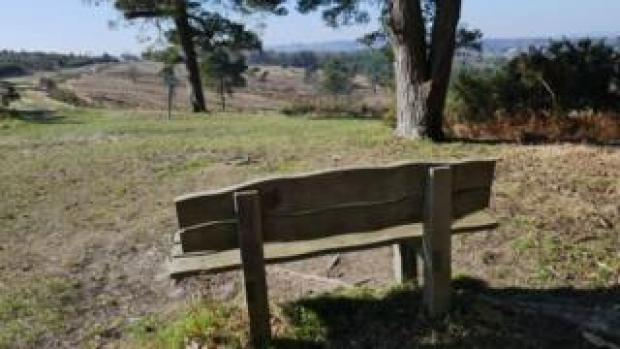 Memorial bench at Ashdown Forest in memory of Luke Power, 20, from Turners Hill, and Tom Dawes, 19, from Forest Row