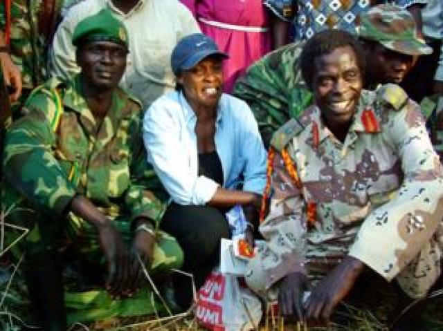 Betty Bigombe with LRA negotiator Brig Sam Kolo (right) in 2004