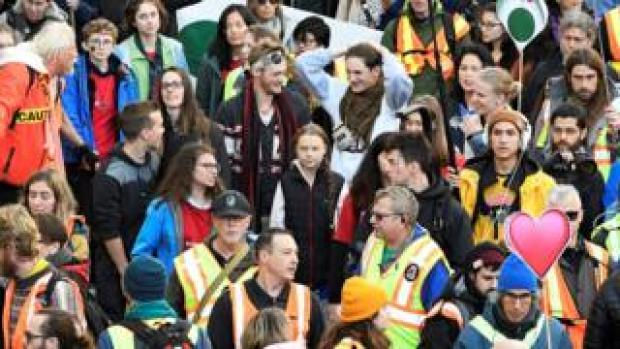 Greta Thunberg joins a climate strike march in Vancouver