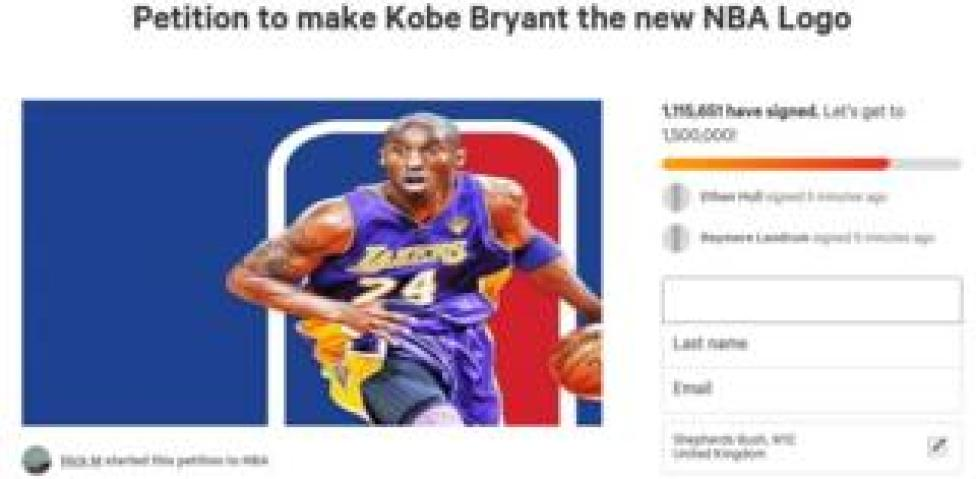 sport Screenshot of the Change.org petition to get Kobe Bryant's silhouette added to the NBA logo