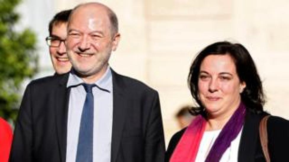 File pic (2015 of Denis Baupin with his wife, Housing Minister Emmanuelle Cosse (R),