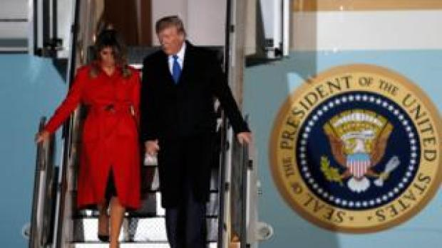 Melania Trump and Donald Trump arrive at Stansted Airport