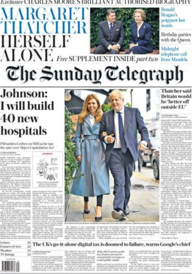 The Sunday Telegraph's front page September 29
