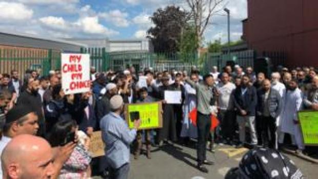 Protesters gathered outside Anderton Park, 24 May