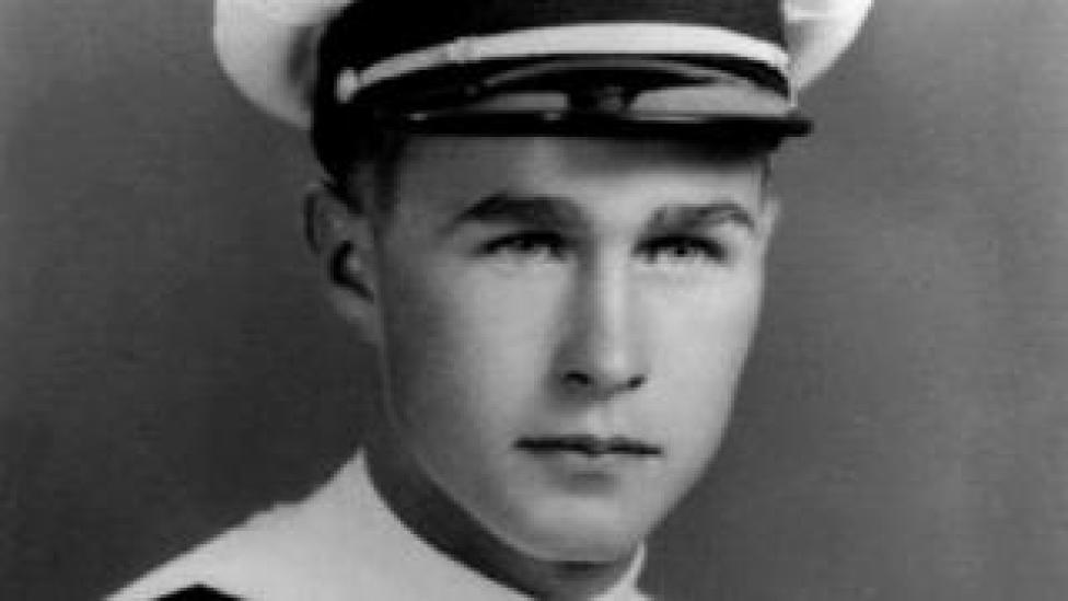 George H W Bush in naval uniform