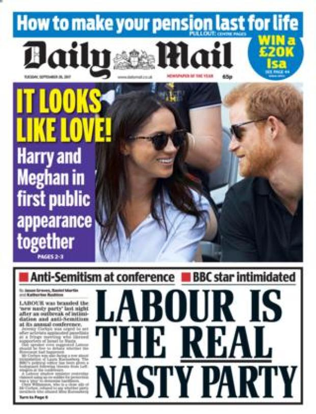 Daily Mail front - 26/9/17
