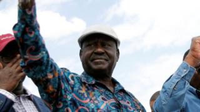 Opposition leader Raila Odinga greets supporters in the Kibera slum, Nairobi, Kenya August 13, 2017