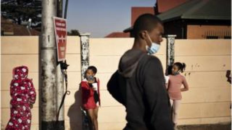 People wear masks in South Africa