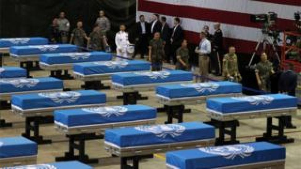 A ceremony to repatriate 55 sets of remains of American troops killed during the 1950-53 Korean War are under way at Osan Air Base in Pyeongtaek, 70 kilometres south of Seoul, South Korea,