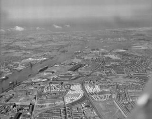 Tyneside, Hebburn, Jarow and Willington, looking east, on 20 July 1947
