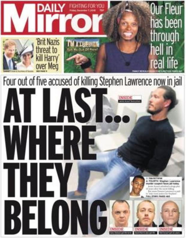 Daily Mirror front page, 7/12/18