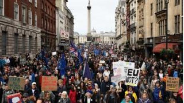 Campaigners march for a second EU referendum