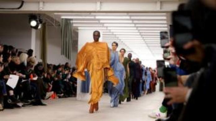 Models walk the Richard Malone show at London Fashion Week 2020