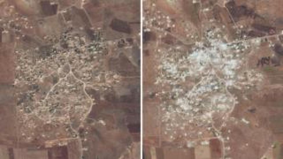 Satellite images from 20 July 2018 (left) and 26 May 2019 (right) showing damaged or destroyed buildings and apparent aerial bombardment in Idlib province, Syria