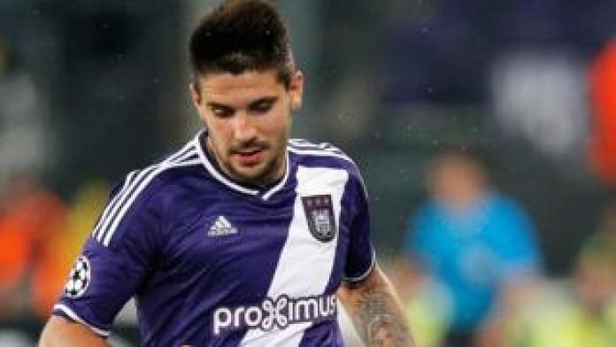 Aleksandar Mitrovic playing for Anderlecht in 2015