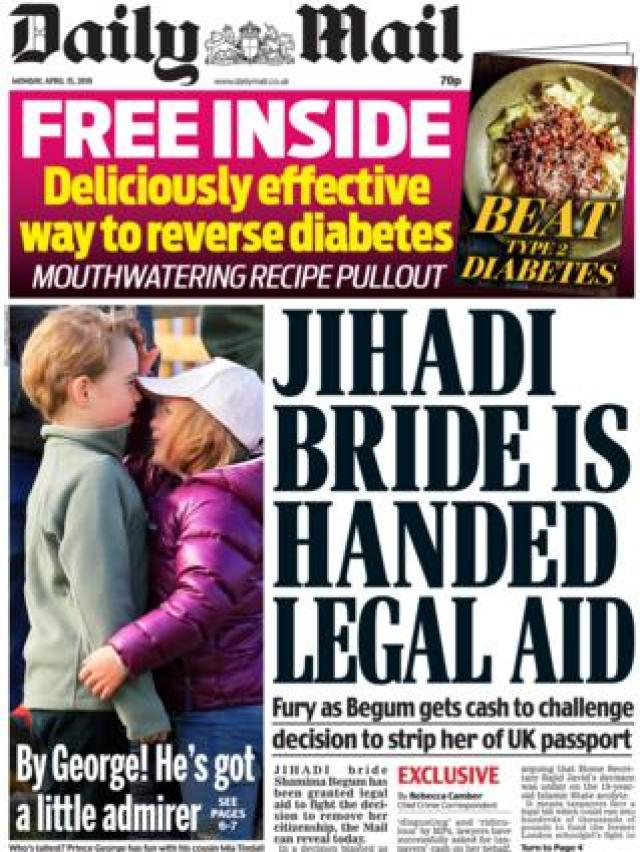 Daily Mail front page, 15/4/19