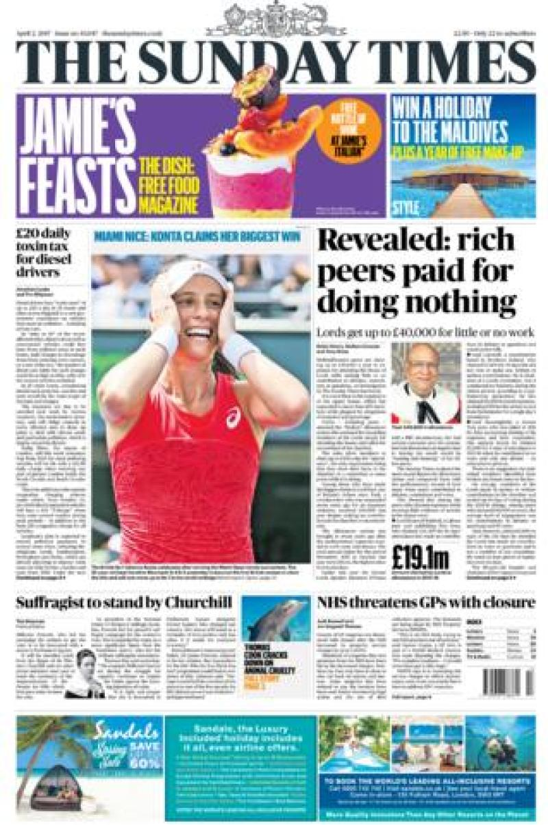 Sunday Times front - 02/04/17