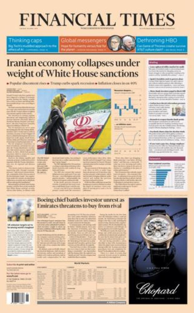 Financial Times front page - 30/04/19