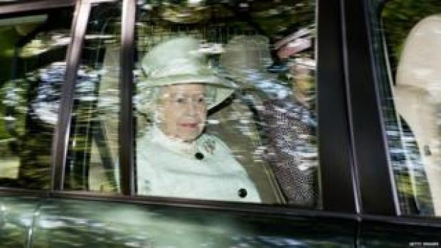 The Queen on her way to Crathie Kirk in August 2014