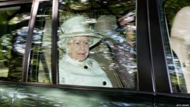 The Queen on her way to Crathie Kirk in August 2014