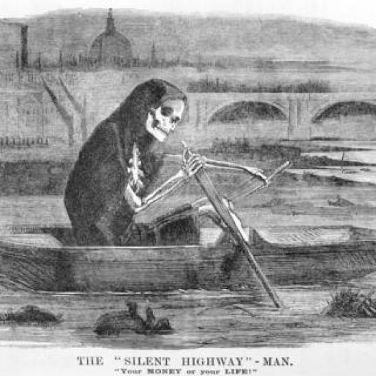 Illustration skeleton rows boat up Thames