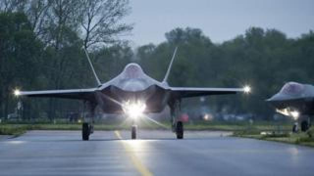 The first two American F-35A Lightning II fighter jets land in Leeuwarden, The Netherlands, in May 2016.