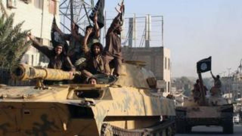 Islamic State militants in Raqqa, Syria, undated