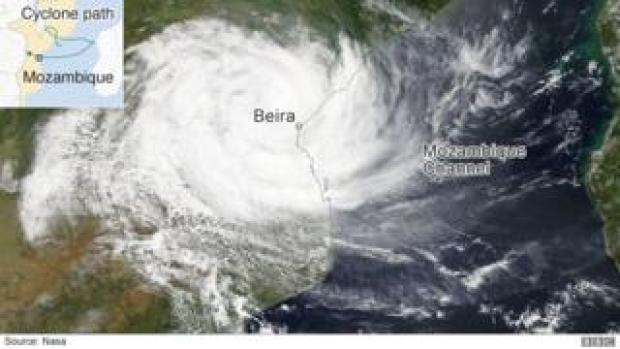 Satellite image of Cyclone Idai as it hit the coast of Mozambique