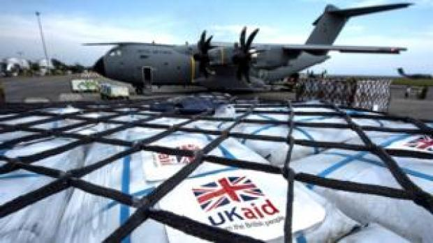 An RAF A400M aircraft in Jakarta, Indonesia, carrying UK and Indonesian Aid for Balikpapan to be distributed to the earthquake and tsunami hit island of Sulawesi