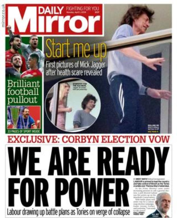 Monday's Daily Mirror front page