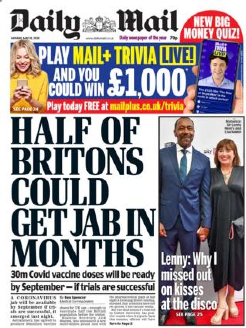 Daily Mail 18 May 2020