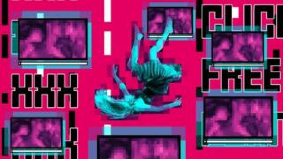 Composition d'images abstraites - femme qui tombe, écrans d'ordinateurs, fond rose pourpre et lumineux