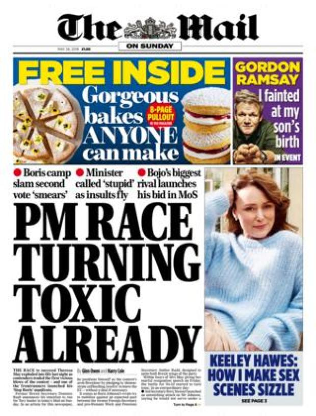 Mail on Sunday front page