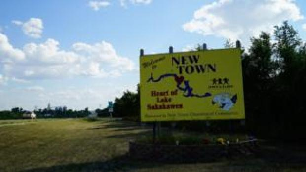 Signage for New Town on Fort Berthold Reservation