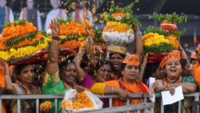 Women's BJP supporters during demonstrations in Hyderabad