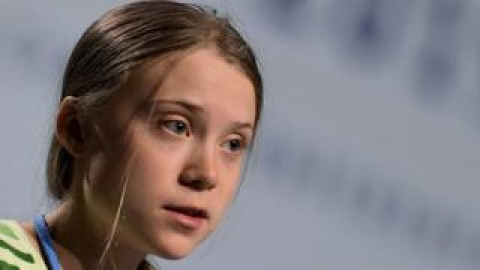 trump Greta Thunberg speaking at the UN climate change conference on Tuesday