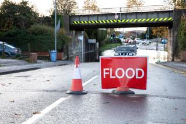 A flooded street in Worksop