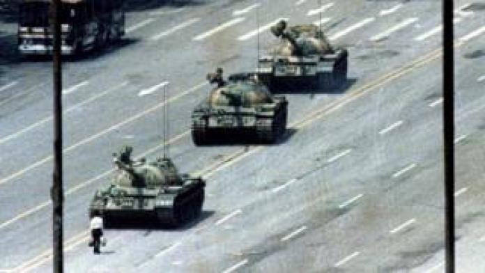 One of the original shots of Tank Man in Beijing