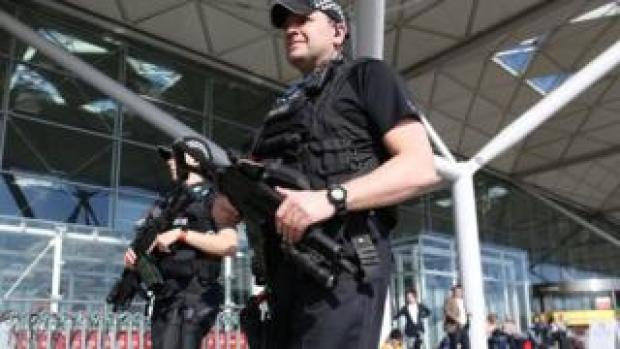 Armed police officers at London Stansted Airport