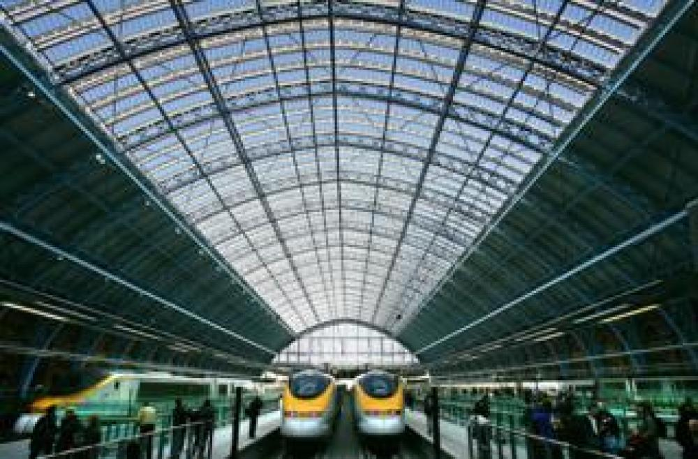 A general view of the first trains to leave from the Eurostar platform of St Pancras International station