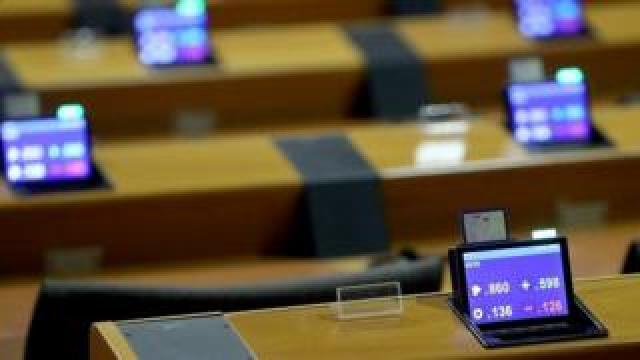 The chamber of the European Parliament during a rehearsal for Wednesday's vote