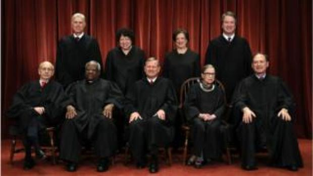 Seated from left: Associate Justices Stephen Breyer, Clarence Thomas, Chief Justice John Roberts, Ruth Bader Ginsburg and Samuel Alito; Standing from left: Associate Justices Neil Gorsuch, Sonia Sotomayor, Elena Kagan and Brett Kavanaugh