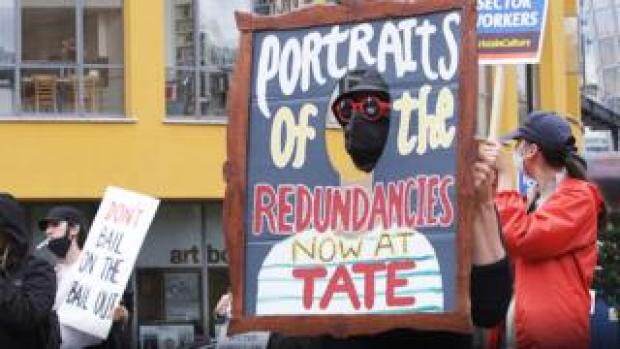 Protests about redundancies outside Tate Modern on 27 July